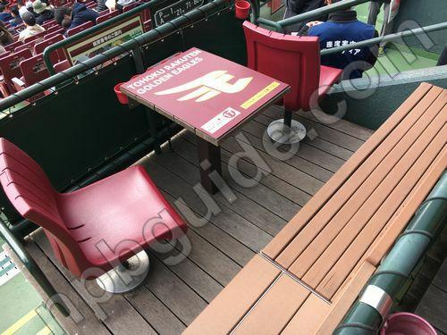 バックネット裏ボックスシートの座席